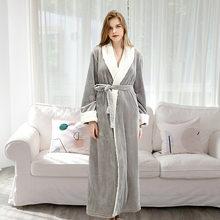 FZSLCYIYI 2020 осенне-зимняя фланелевая сшитая Ночная рубашка Длинная XL Толстая Пижама для мужчин и женщин банный Халат(Китай)