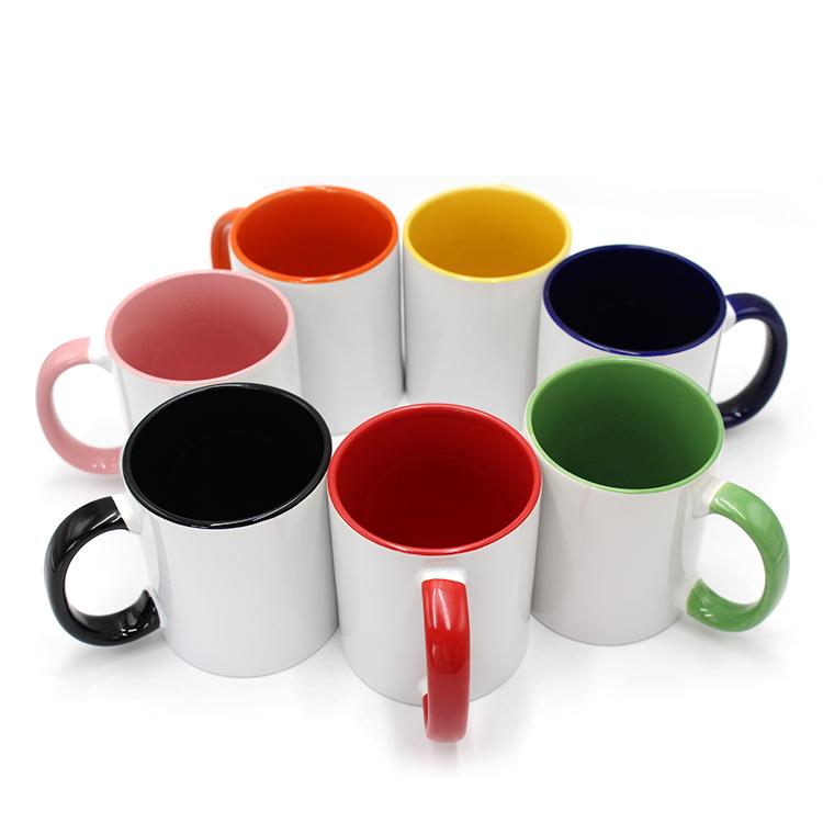 Stampati personalizzati Colore Maniglia Interna Tazza di Stampa Tazza di Regalo Immagine Testo Foto Tazze 11oz interno blu di ceramica di sublimazione tazza