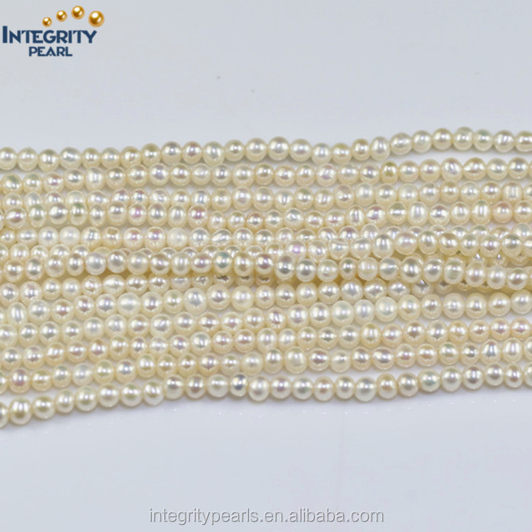 3.5-4mm AA near round mini size fresh water cultured real freshwater natural small pearl beads necklace