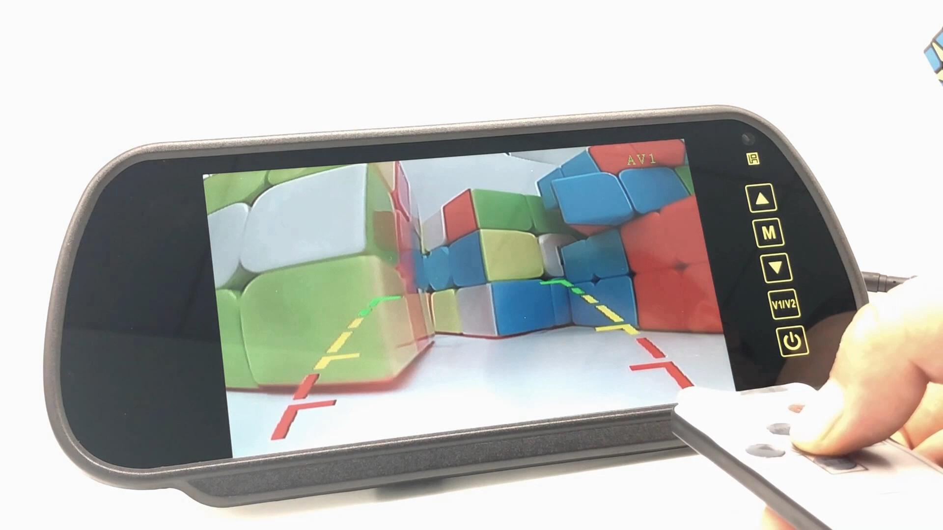 7 polegadas Monitor Espelho Retrovisor Com OEM Bracket Car Ajuda Invertendo 2CH Entradas de Vídeo 12-36V