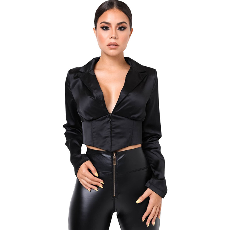 Women Female Suit Jacket Classic Buckle Satin Collar Slim-Fit Small Suit Jacket Womens Jacket Slim Coat