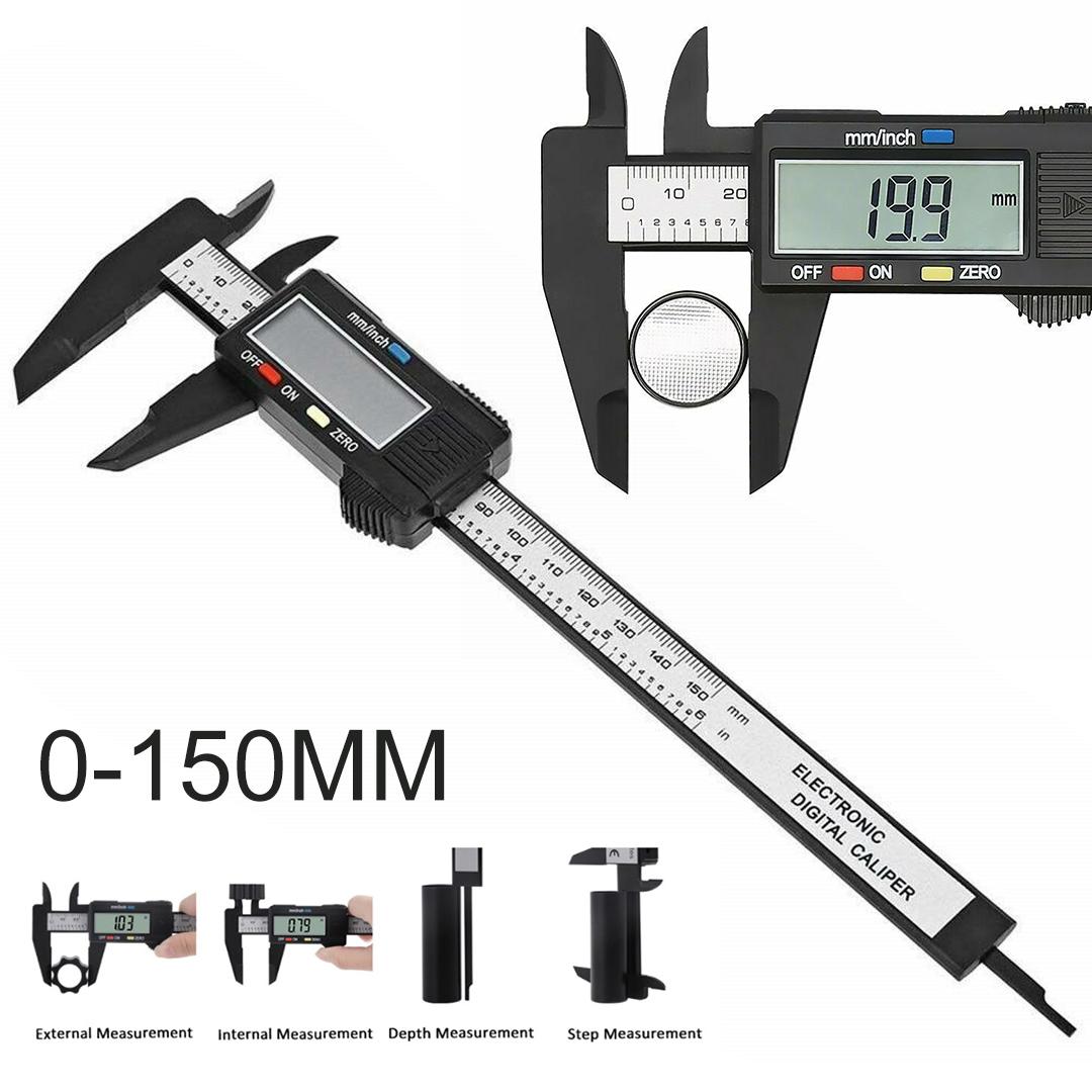 Digital LCD Vernier Calipers 150mm Carbon Fiber Measuring Tool Micrometer Ruler