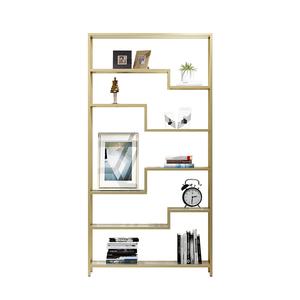 Open Back Home Bookshelf Furniture Modern Luxury Office Bookcase Custom Gold Stainless Steel Frame 8 Inch High Bookcase