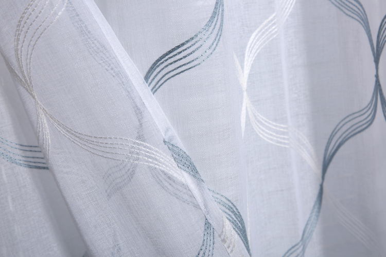 Ready to ship polyester embroidery fabric textile home russia style sheer custom ready curtain