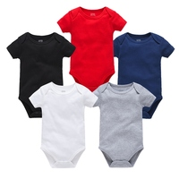 Newborn Baby Clothes Solid White Black Bodysuit Bebes Boys Girls Short Sleeve Summer Soft Jumpsuit For Infant Baby