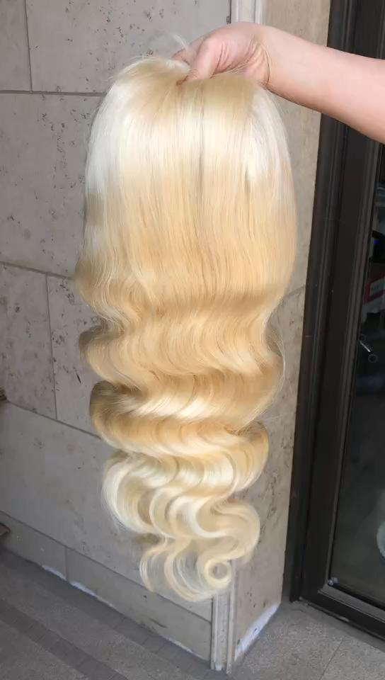 Virgin 100% Human Hair Free Logo Service Haiyi Hair 613 Body Wave  Lace Wig