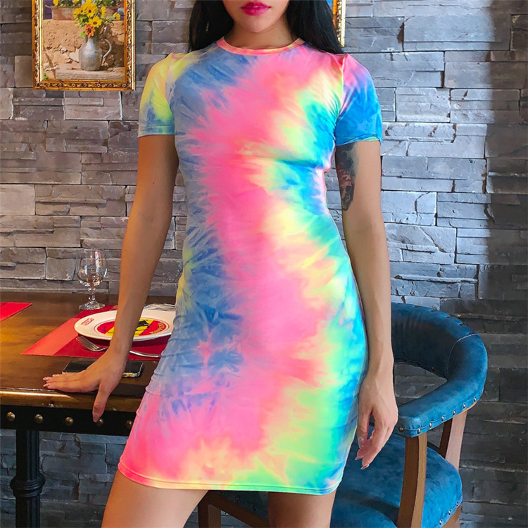 Wholesale high quality tie dye women nice dresses for ladies