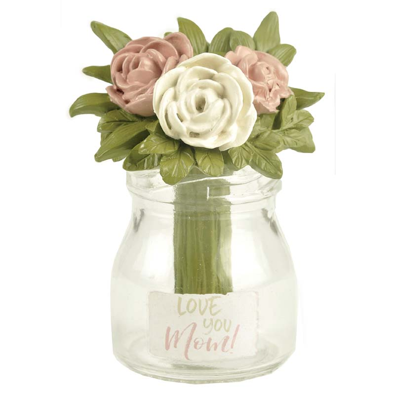 2020 New Arrival Resin Flower in Glass Jar Decoration-LOVE YOU MOM