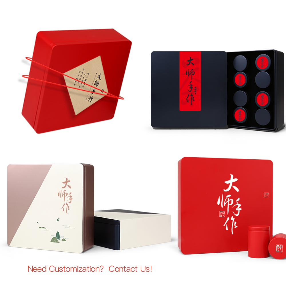hot sale chinese high quality black tea tin box with 12 round tin canisters