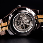 Wood oem casual dropshipping men luxury brand automatic movement skeleton dial wristwatches mechanical watch