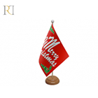 Custom high quality cheap holders christmas office table flag