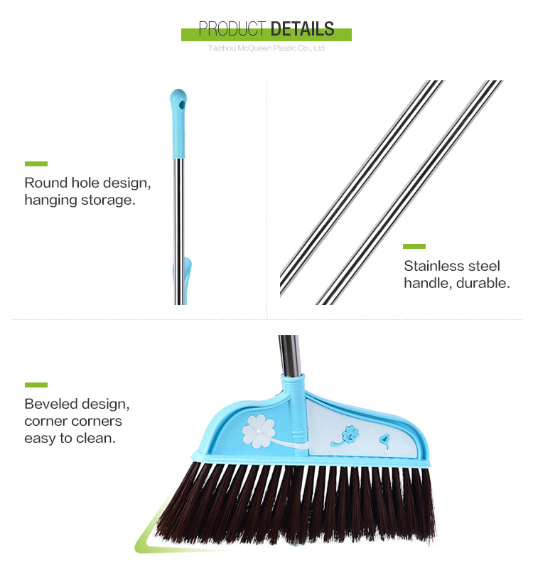 Colorful Long Handle Plastic Dustpan With Broom