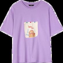Женская футболка ELFSACK, фиолетовая Повседневная футболка с забавным графическим принтом в стиле Харадзюку, шикарная на пуговицах, лето 2020(China)