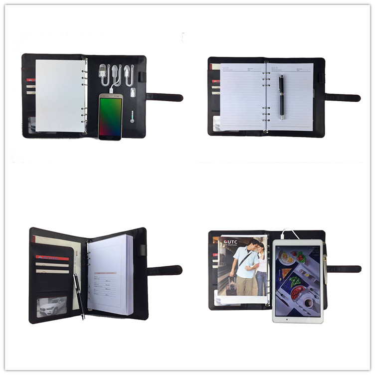 ออกแบบใหม่ PU หนัง binder ที่ผ่านการรับรองแบบพกพา charger โทรศัพท์มือถือ power bank โน้ตบุ๊ค