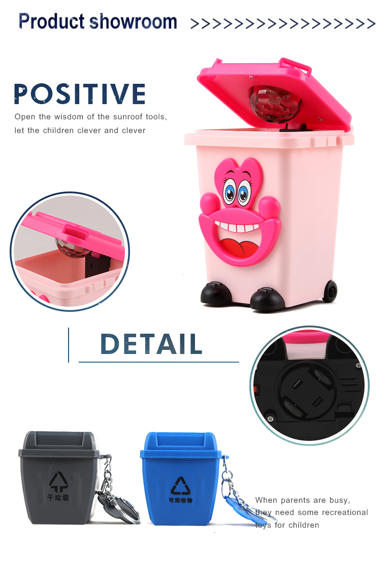 Educational electronic garbage recycling B/O crazy plastic trash can toys