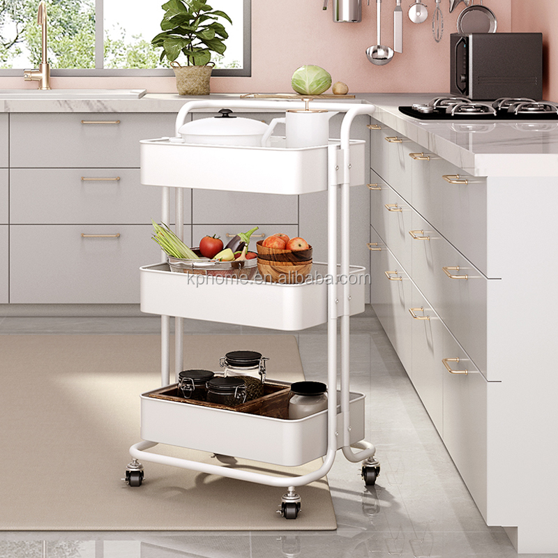 3-Tier Folding Metal Utility Vegetables Storage Service Cart Mesh Stainless Steel Foldable Kitchen Trolly Cart