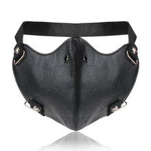 Панк Глянцевая маска из искусственной кожи простой дизайн с пряжкой Пылезащитная маска от солнца для мужчин и женщин эффектные трендовые а...(Китай)