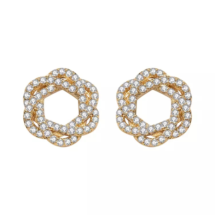 Fine Jewely Delicacy Dubai 18k <strong>Gold</strong> Plated Zircon Inlay Stud <strong>Earrings</strong> For Women Accessories