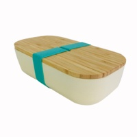biodegradable eco friendly reusable bamboo fibre lunchbox bento box with silicon band customize printing 2018 new product