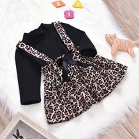 new design leopard print child clothes fancy toddler dress clothes clothing set for baby girl