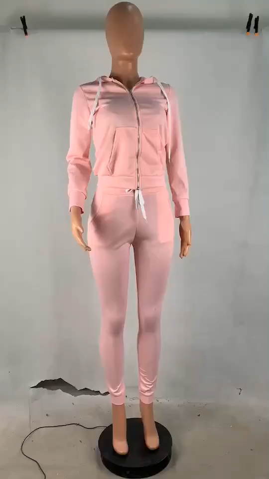 0820M214 New Arrival Autumn Winter Solid Hoodies With Pocket Women Sexy Matching Sets 2 Pcs Track Suit Outfits Two Piece Set