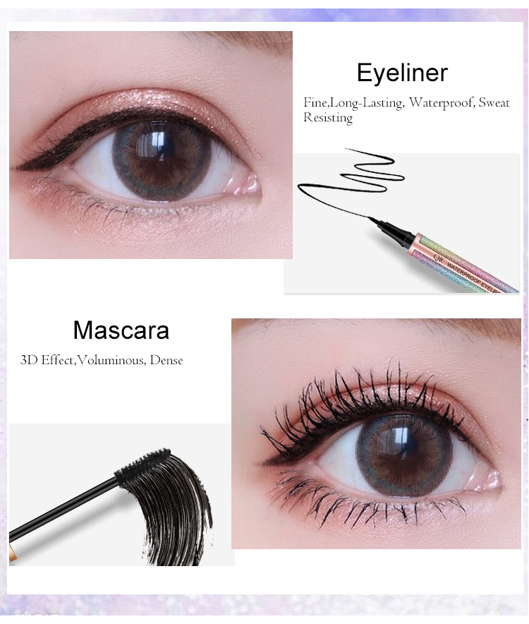 New Eyes Makeup Set 1pc Eyelashes Mascara + 1pc Waterproof Double Head Eyebrow Pencil + 1pc Black Liquid Eye Liner Cosmetics Kit