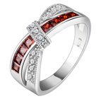 Rings Red Stone Ring Rings For Women Red CZ Stone Platinum Plating Engagement Wedding Ring Silver Wholesale Size 5 6 7 8 9 10 11 12 Finger Rings