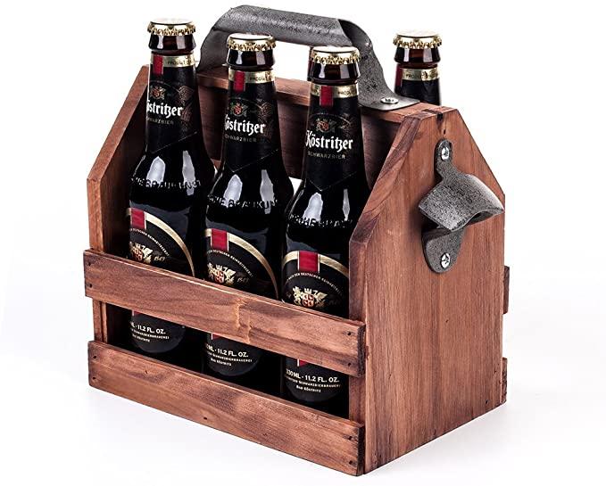 Wooden Bottle Caddy 6-Pack Beer Carrier with Metal Handle Bottle Opener