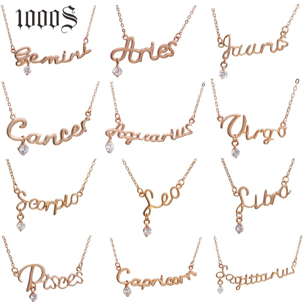 Wholesale <strong>Fashion</strong> Design Rose Gold Zodiac Pendant Necklace Charms Letters Jewelry 925 Sterling Silver Pendant