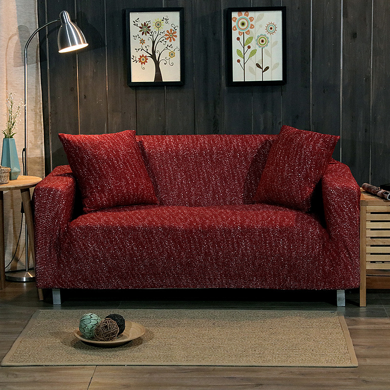 Wine red elegant knitted stretch sofa cover living room reception luxury sofa cover stretch