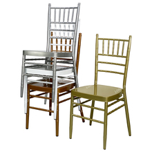 Lorero <span class=keywords><strong>Blanc</strong></span> Mariage Empilable Fer Tiffany or Chaise Chiavari En Métal