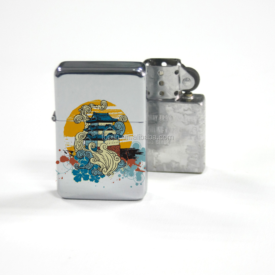 OEM New Style Custom Printing High Quality 3D Metal Sublimation Lighter, Silver;white blank