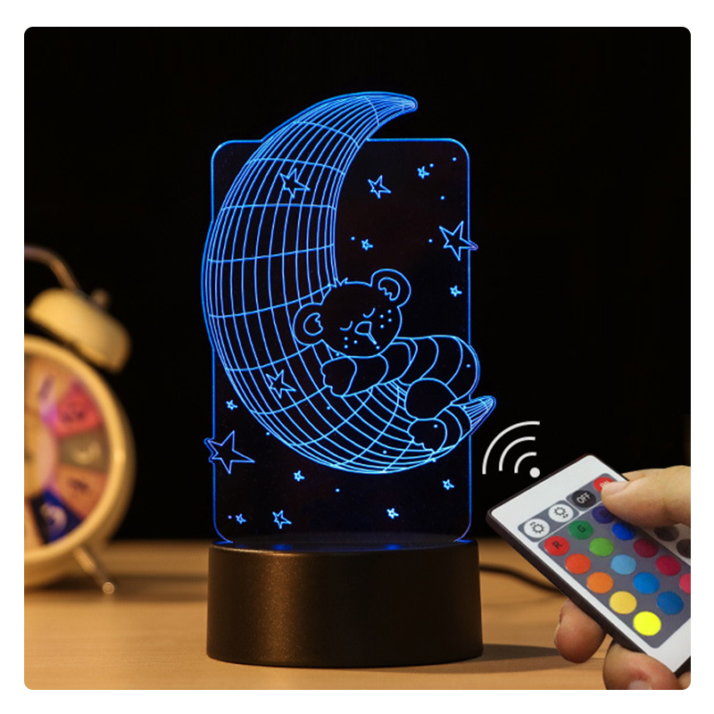 20cm 7 Colors Change Remote Control Creative Kid Gift Moon Shape Usb Plug In Acrylic Colorful 3D Led Night Light