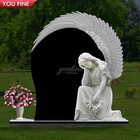 Natural Stone Carved Tombstone White kneel Angel Headstone