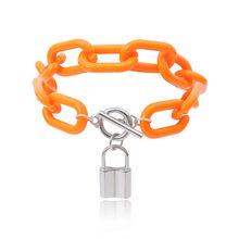 Salircon, 5 цветов, Панк замок, очаровательный браслет, браслет, цепочка, массивный акриловый браслет, для женщин, для друзей, ручная бижутерия, 2020(Китай)