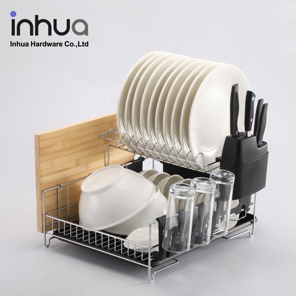 Latest hot selling with drawer tray double kitchen dish rack cutlery drainer rack stainless steel dish drainer drying rack