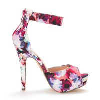 High quality woman platform pumps zip mixed colors floral high heel
