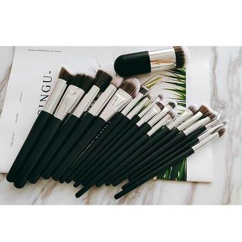 18 Pcs Black Handle Custom Logo Cruelty Free Natural Vegan Cosmetics Makeup Brushes 2019 Set With Mini Short Brushes Wholesale