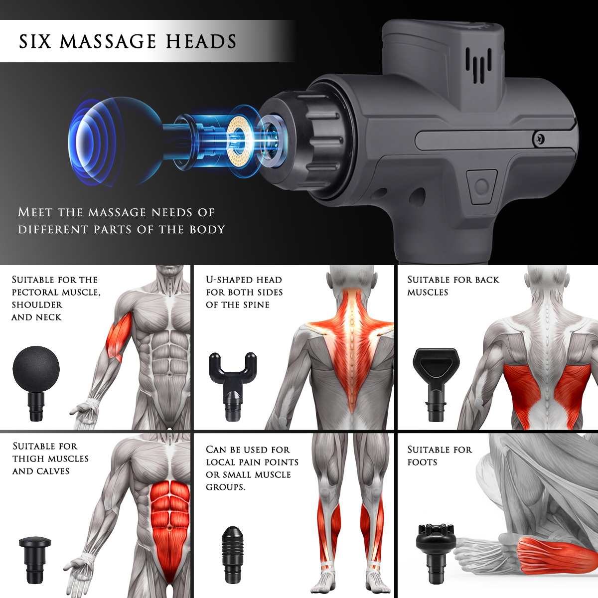 2020 New Design Brushless Massager Low Sound Vibration Muscle Massage Gun