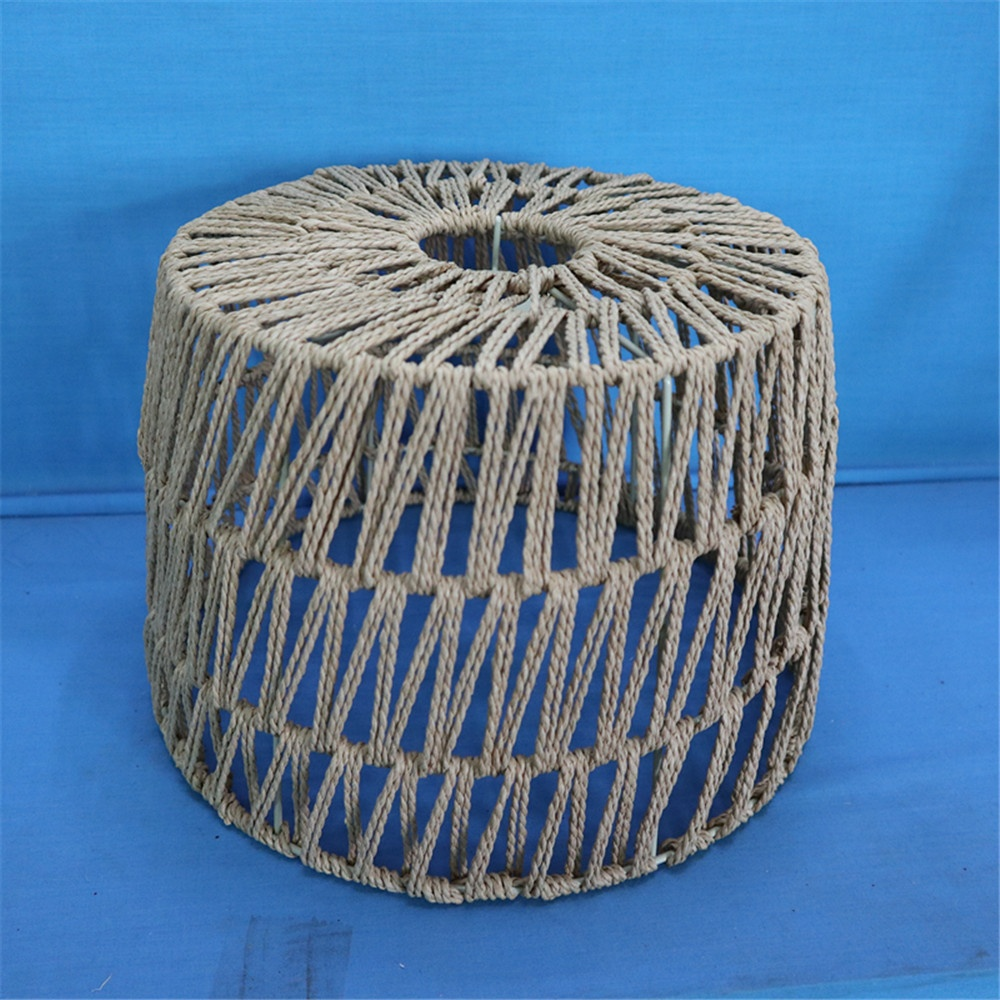 Rustic Nautical Rope Woven Drum Shaded 1-Light Pendant Light lampshade for living room and bedroom