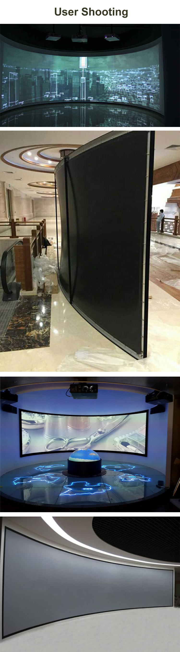 4:3 Cinema Black Velvet Curved Fixed Frame Projector Screen 84 Inch 3D Projection Screen Best For Home Theater
