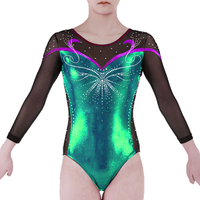 2020 newest Training Dancewear nylon spandex long sleeves sublimated dance artistic wear gymnastics leotards for girls