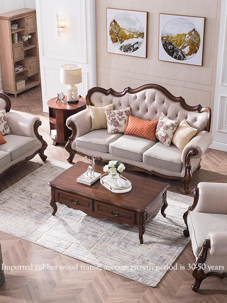 N351 Amerikaanse Klassieke Stijl Bruiloft Bank Massief Hout Lederen Sofa Set