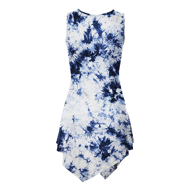 Hot Sell Fashion Sexy Maxi Dress Casual Sleeveless Dresses One-Piece Dress Custom Cotton Tie-Dyed t-Shirt Dress For Ladies