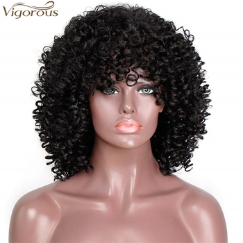 Vigorous Afro Kinky Curly Wigs with Bangs Short Black Curly Hair Wig Heat Resistant Synthetic Fiber Afro Wigs for Black Women