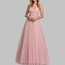 Платье для свадебной вечеринки, розовое длинное Сетчатое платье на молнии с треугольным вырезом без рукавов, летние платья 2020(Китай)
