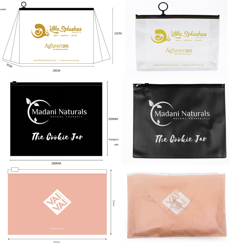 Luxury Customized LOGO Holographic Transparent Stand Up Ziplock Pouch Cosmetic Makeup Skincare Plastic Zipper Bags