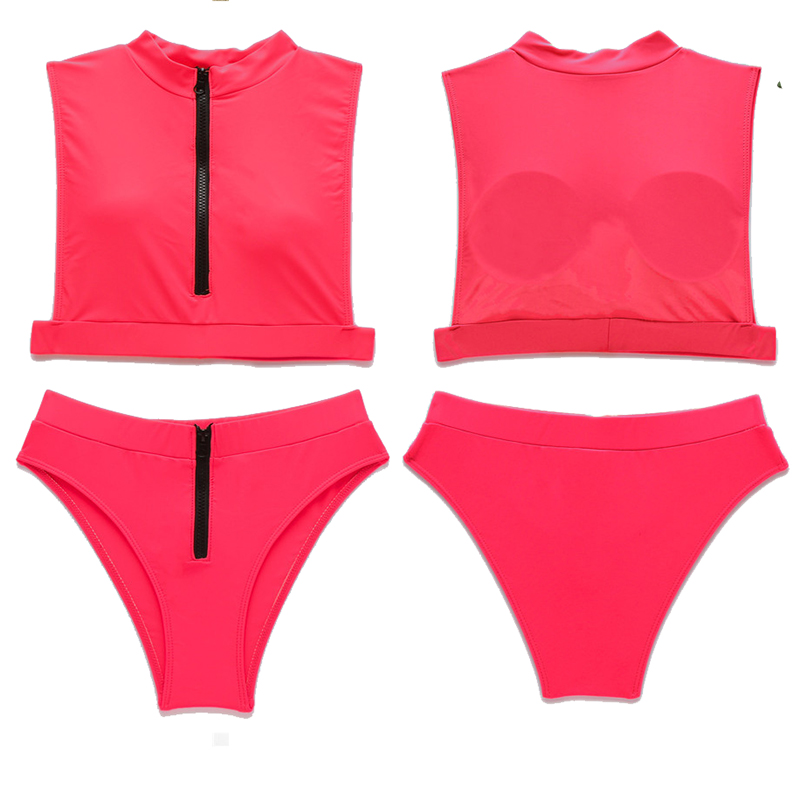 Women Two Pieces High Waisted Zipper Bikini Set Swimwear Bathing Suit Junior Bikini Swimsuits for Teen Girls
