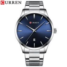 Новые товары в октябре! CURREN Мужские минималистичные часы, гладкие дизайнерские стильные модные часы, водонепроницаемые кварцевые мужские ч...(Китай)