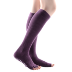 MEIKAN Wholesale Cotton Silicone Sole Dance Sox Half Toe Women Custom Non Slip Grip Long Yoga Socks